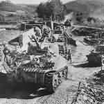 Canadian forces and M4 Sherman Tanks Advance over Sieve River in Italy