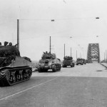 M4 Sherman tanks Nijmegen Holland during operation Market Garden 1944. 30th Corps, September 21, 1944