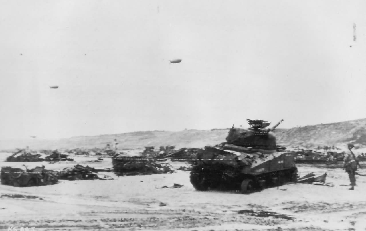 M4 Sherman Tanks Knocked Out Normandy Beach D Day 1944