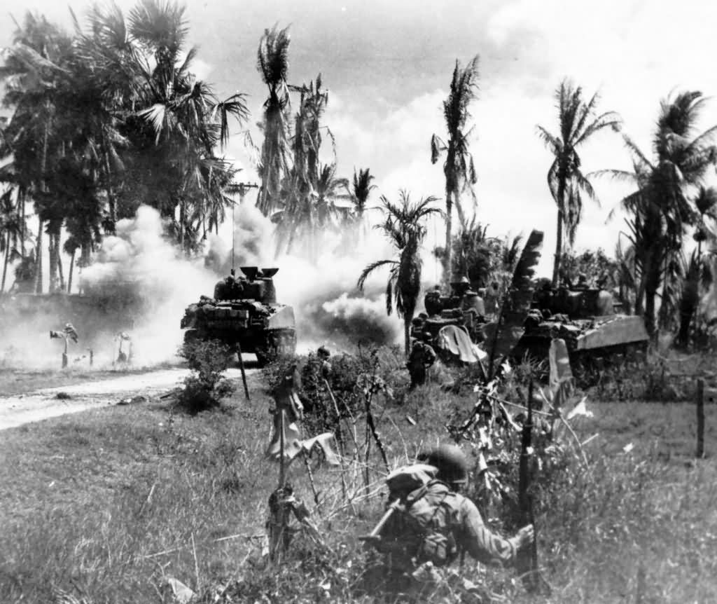 M4 Sherman Tanks Phillipines 1945 World War Photos