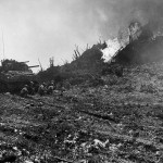 10th Army Flame Throwing M4 Sherman Tank in Action Okinawa 1945
