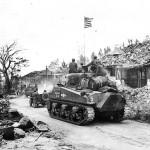 3rd Marine Division Troops and M4 Sherman Tank Moves thru Agana Guam