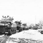 British Manned Sherman Tanks Advancing in Belgium 1945