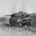 Burning M4A3 76 Sherman Tank 1st Armored Division February 1945
