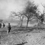 Burning M4 Sherman Tank Saarburg Germany 1945