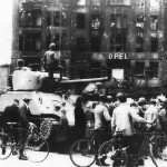 Crowd by US 2nd Armored Division M4 Tank at Opel Hotel in Berlin July 1945