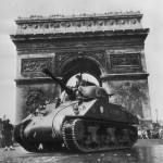 French Armored Division M4 Sherman Tank at Arc de Triomphe in Liberated Paris
