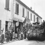 French Civilians Greet First American M4 Tanks Entering Le Lavandou