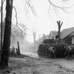 French M4 Sherman Advancing with Infantry Belfort 20 November 1944