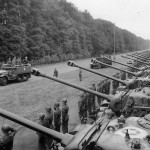 Gen George Marshall inspects troops and M4 Sherman tanks of the US 2nd Armored Division near Berlin 1945
