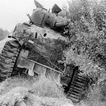 Knocked Out M4 Sherman Tank Normandy 1944