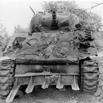 Knocked Out M4 Sherman Tank with hedgerow cutters Normandy