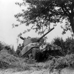 M4A1(76) Sherman Tank with hedgerow cutters in Pont Herbert Normandy