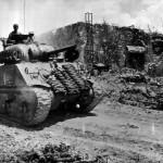 M4A2 Sherman of company A, 1st Tank Battalion Advancing on Peleliu 1944