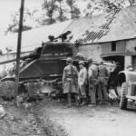M4 Sherman Tank knocked out at La Haye Du Puits Normandy July 1944