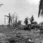 M4 Sherman and troops Advance on Japanese Pillbox at Orote Point Guam