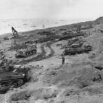M4 Sherman tanks Equipment for Battle coming ashore Iwo Jima 3 February 1945