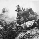 M4 Tanks of U.S. 9th Army Troops Advancing toward Loverich 1944