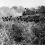 Marines Follow M4A1 Sherman tank #7 Cape Gloucester