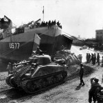 USS LST-77 off loading M4 Sherman Tanks at Anzio Italy 23 May 1944