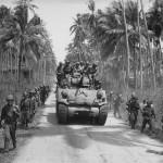 US Army 40th Inf GI's and M4 Shermna tank towards Bago River bridge Negros 1945