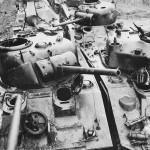 Wrecked US M4 Sherman Tanks at Ordnance Depot in France 1945