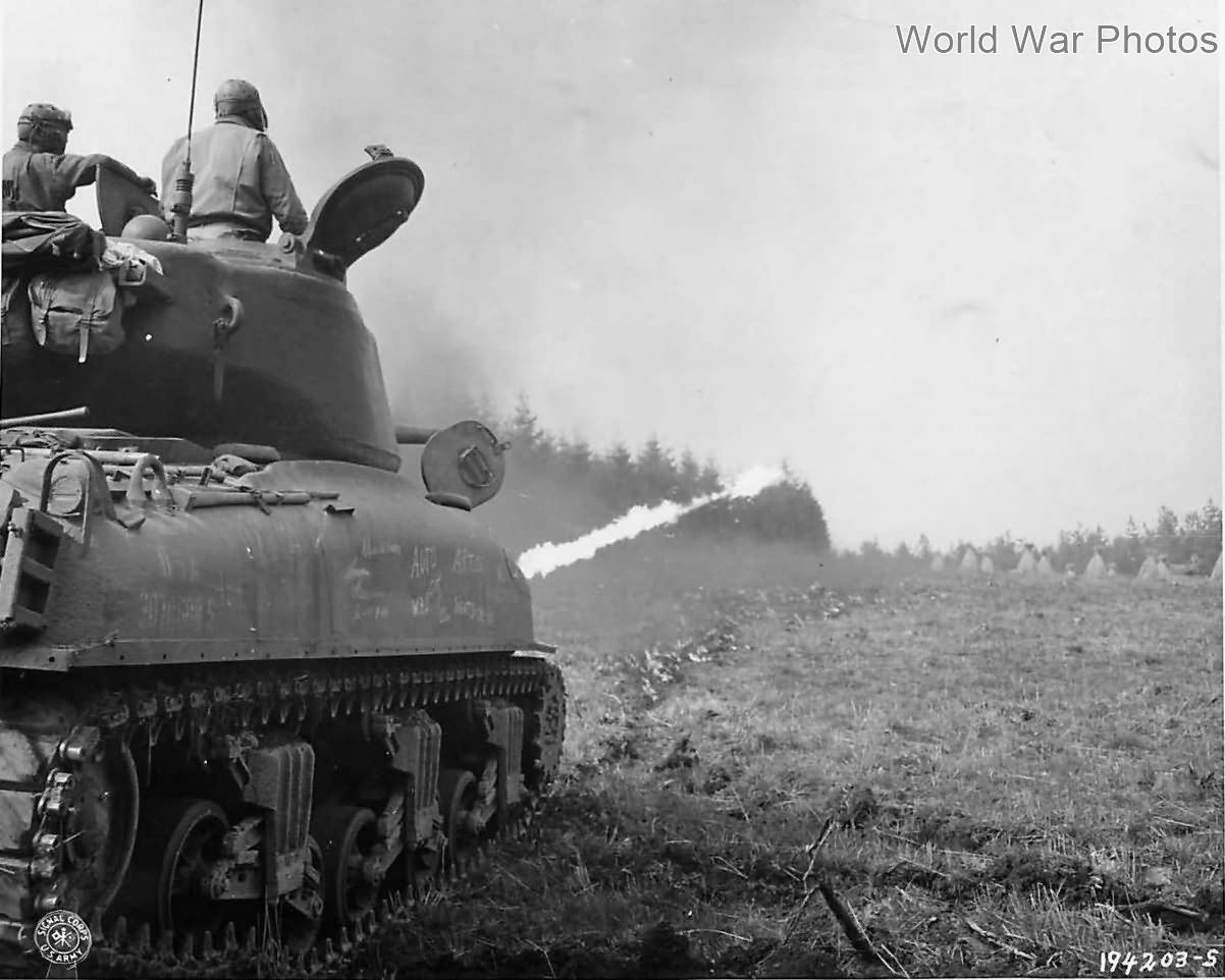 Flame Throwing M4A1(76)W Sherman of 70th Tank Battalion in action