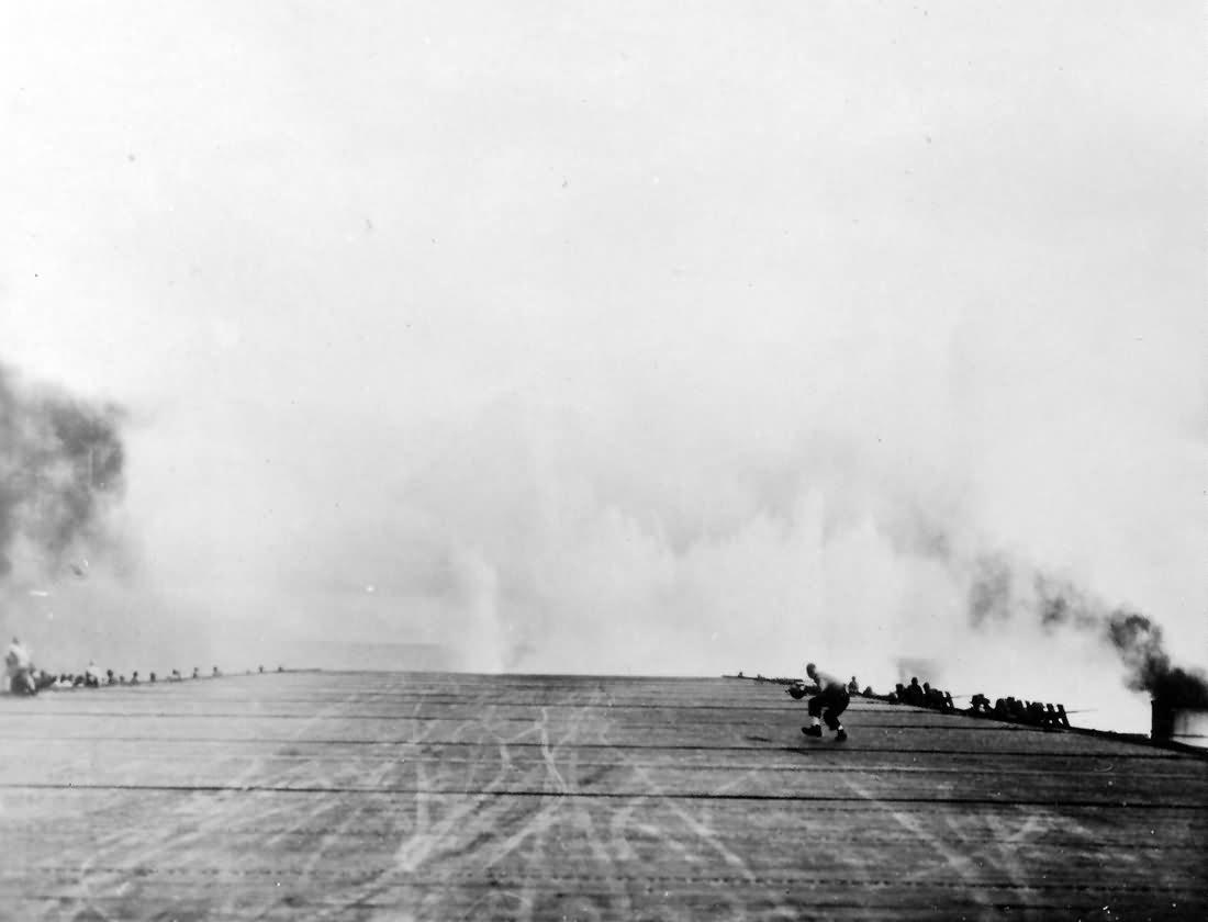 A near hit on carrier USS Kalinin Bay CVE-68