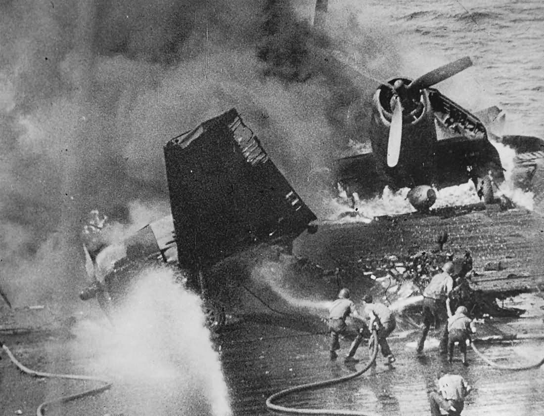 Blazing US Navy Aircraft Aboard Carrier 2nd Battle of The Philippines