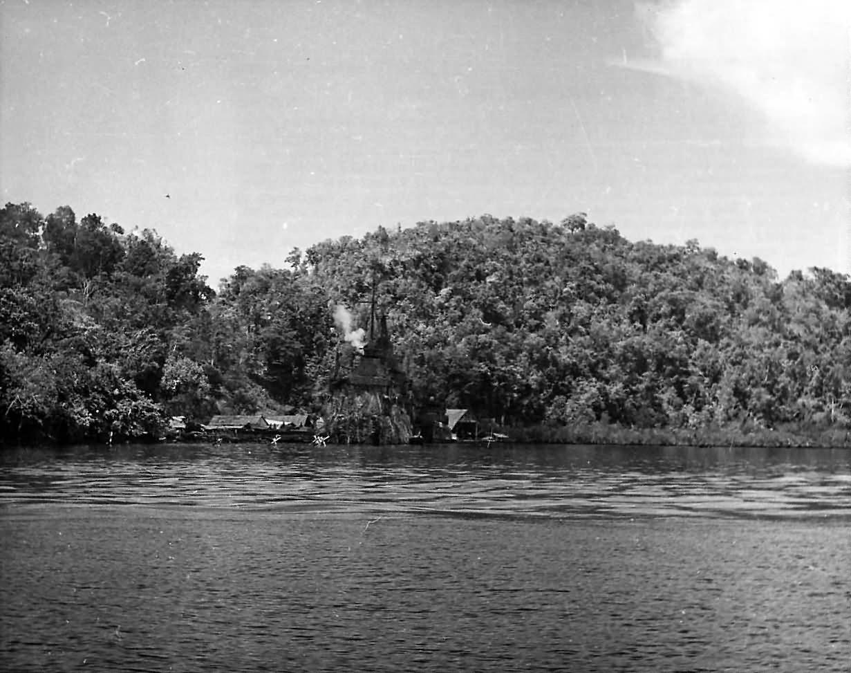 Cobweb Camouflage on USS MINNEAPOLIS CA-36 in Tulagi Harbor 1944