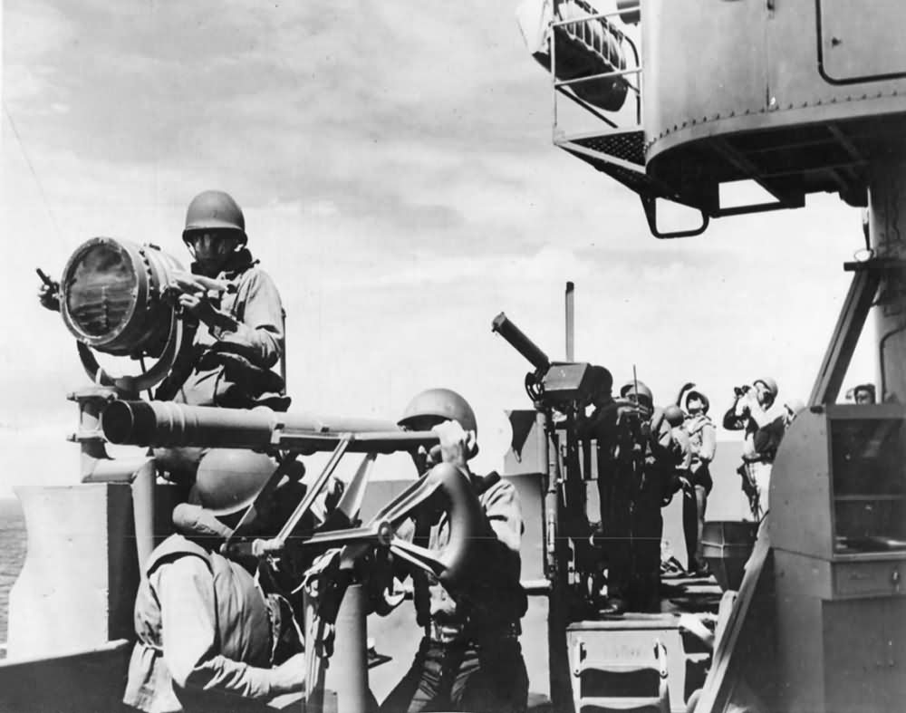 Crew in Action on Carrier Signal Bridge During Pacific Battle
