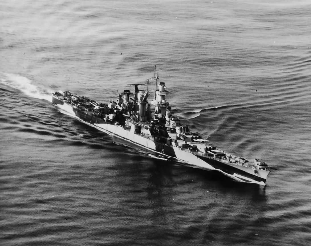 Cruiser USS Alaska CB-1 in camouflage aerial view