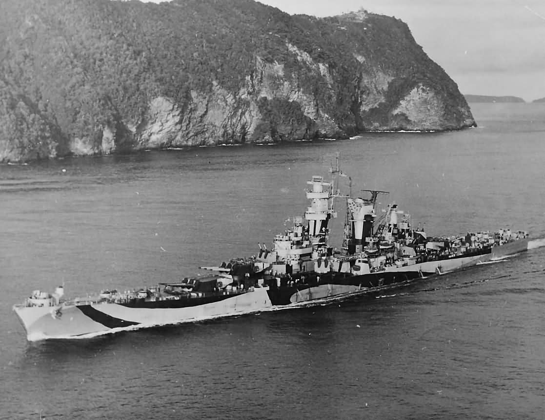 Cruiser USS Guam CB-2 in camouflage