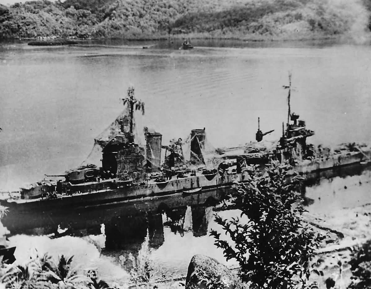 Cruiser USS Minneapolis CA-36 in Tulagi Harbor 1944