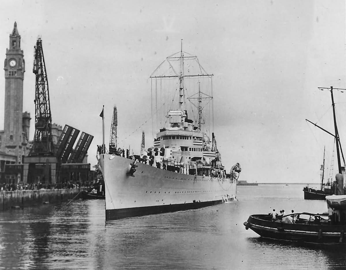 Cruiser USS Nashville CL-43 Arrives at Cherbourg France 1938