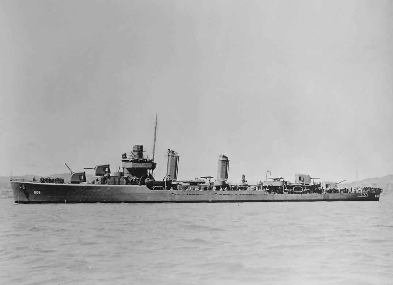 Destroyer USS Coghlan DD-606 starboard view