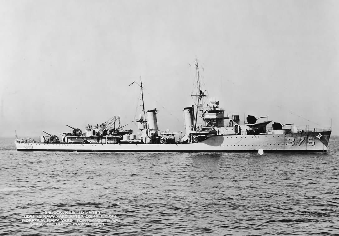 Destroyer USS Downes DD-375