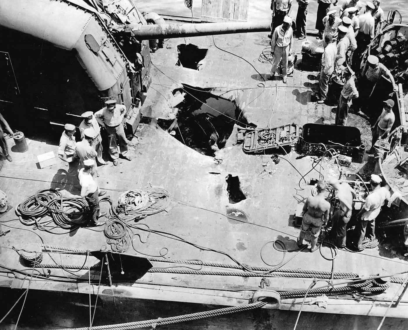 Destroyer USS Halsey Powell DD-686 After Kamikaze Attack Off Kyushu 1945