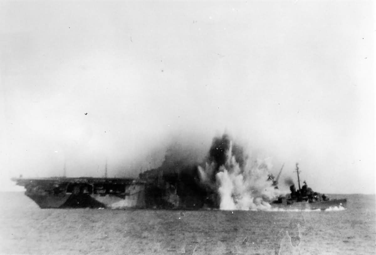 Destroyer USS Halsey Powell DD-686 Hit By Japanese Kamikaze Plane Off Kyushu