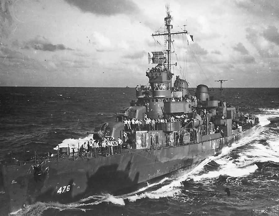 Destroyer USS Hutchins DD-476 Damaged by Kamikaze 27 April 1945