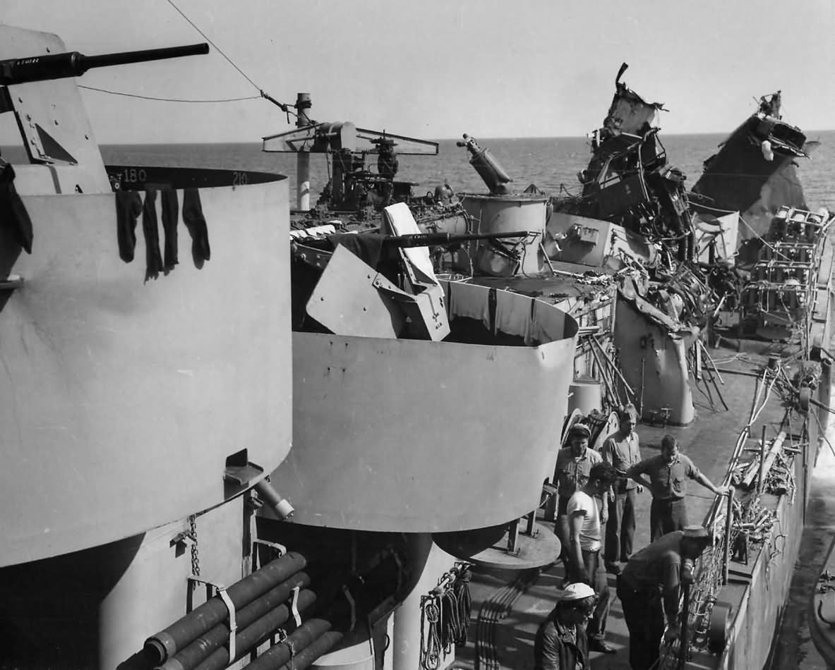 Destroyer USS Menges DE-320 after Hit by German Torpedo from U 371 May 1944