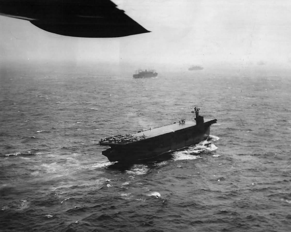 Escort Carrier USS Nassau CVE-16 during Invasion of Attu 1943