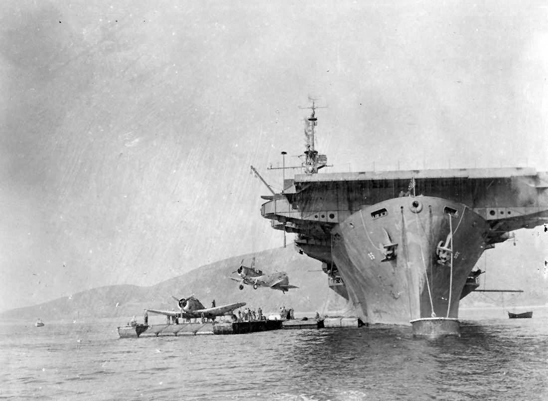 Escort carrier USS Bismarck Sea CVE-95 unloading airplanes