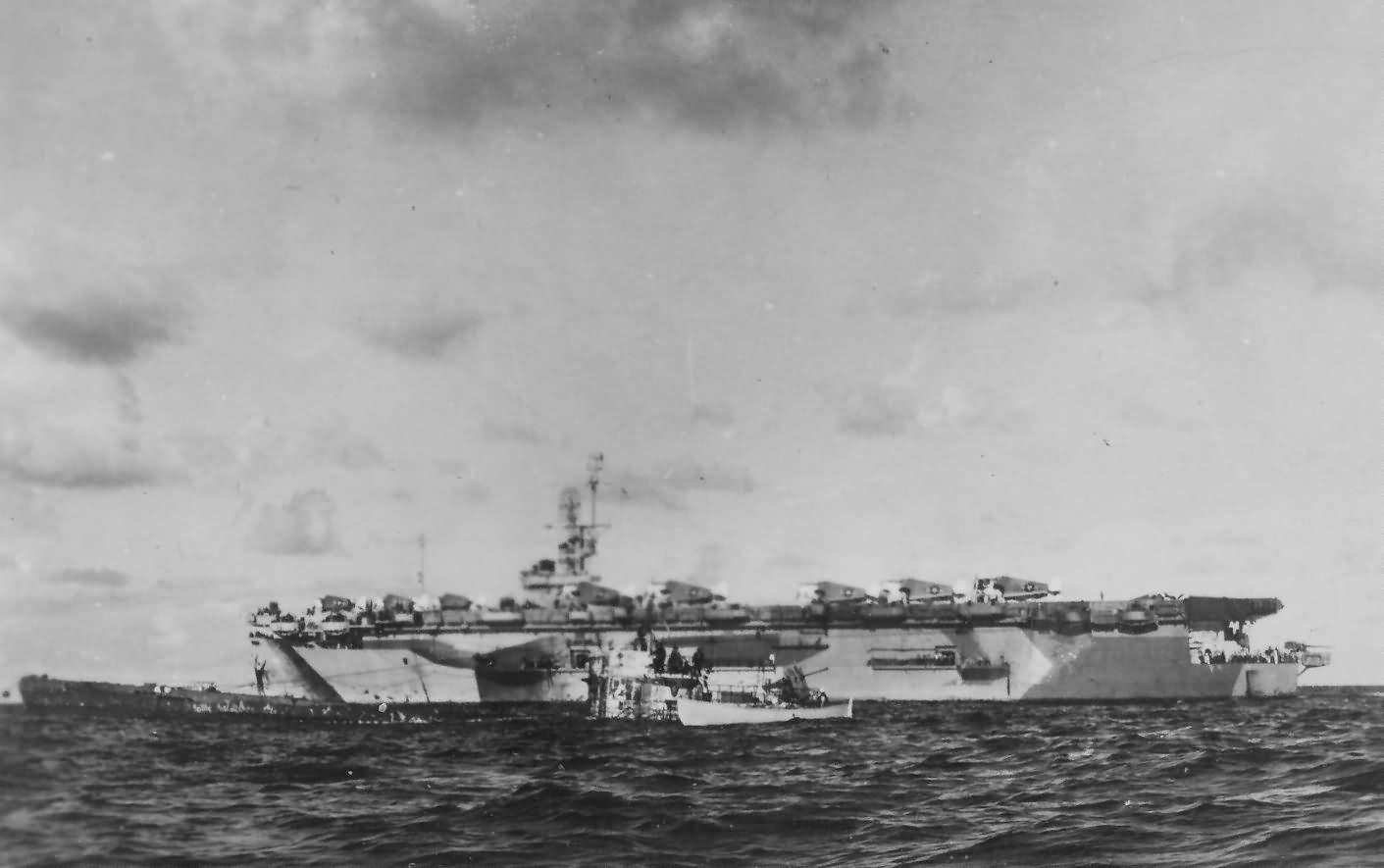 Escort carrier USS Guadalcanal CVE-60 and U-boat U-505 June 1944