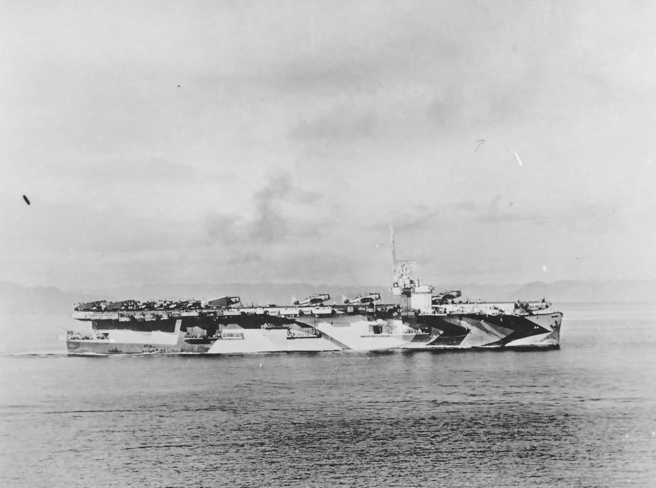 Escort carrier USS Lunga Point CVE-94, planes on deck