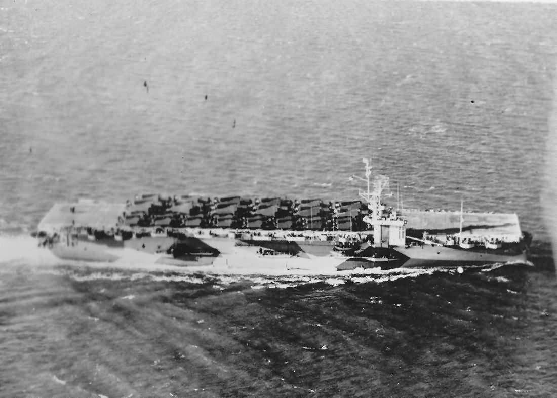 Escort carrier USS Shamrock Bay planes on deck