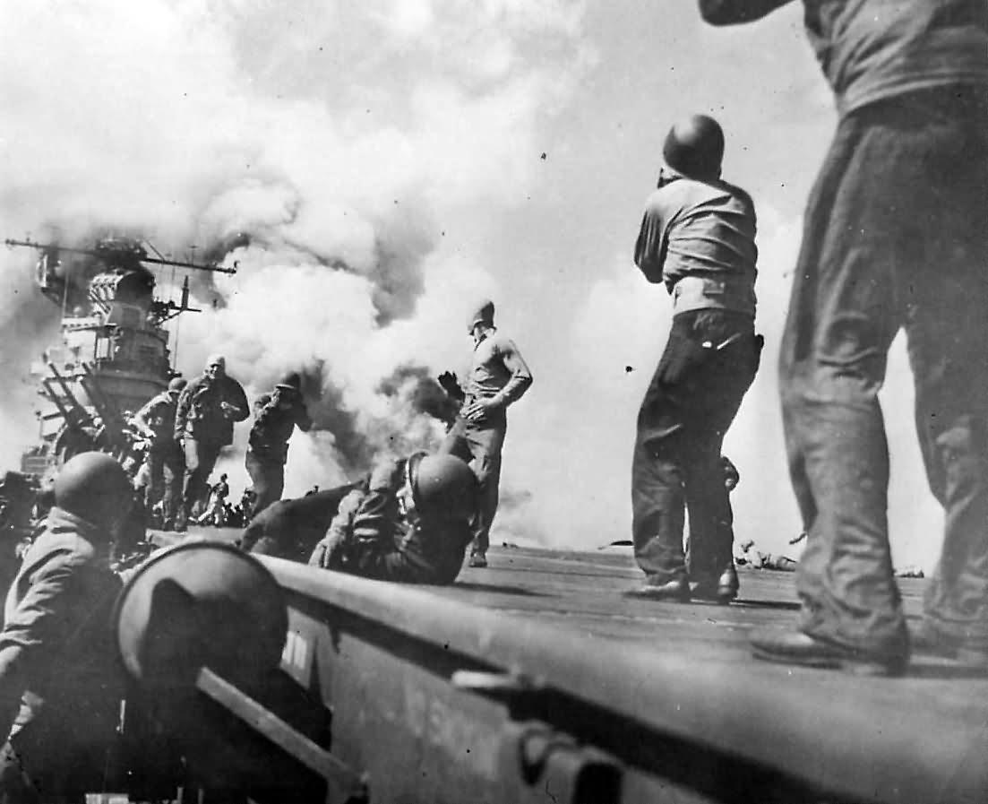 Explosion on USS Essex CV-9 after Hellcat Drop Tank Burst on Landing 1944
