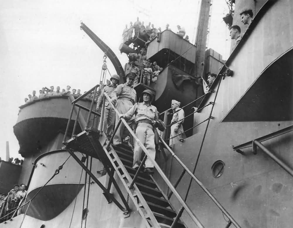 General MacArthur aboard USS Nashville CL-43 for Philippine Invasion
