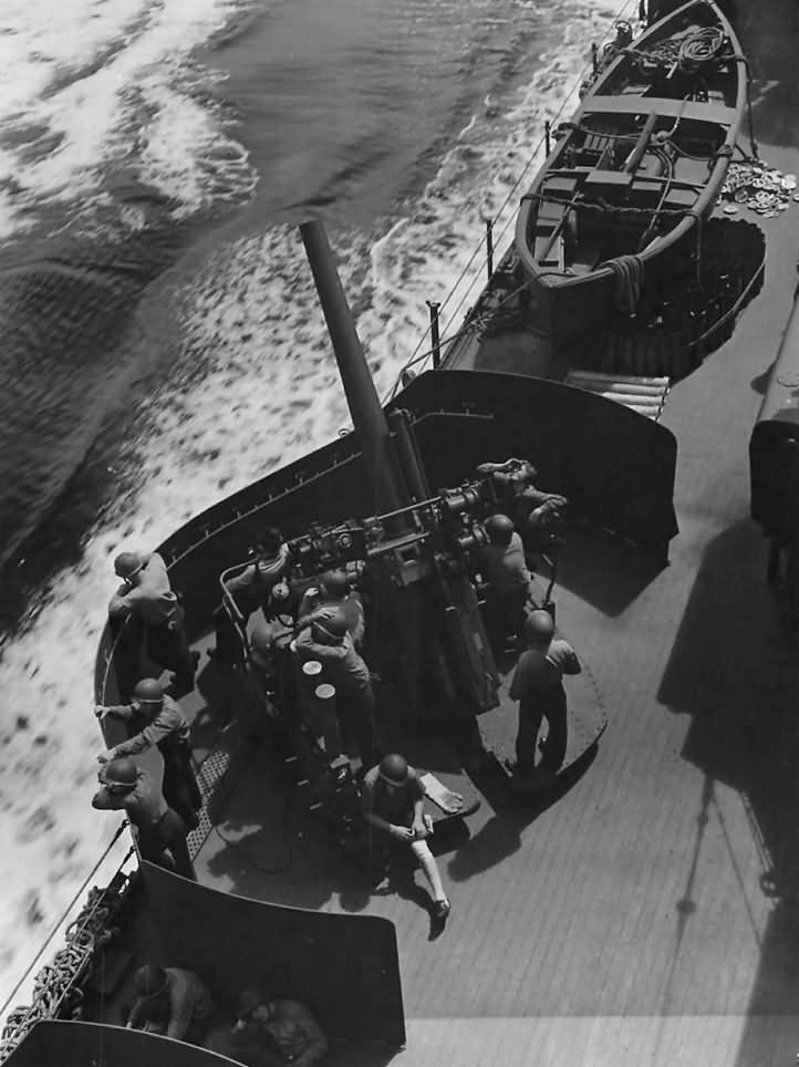Gun Crew in Action aboard USS Nashville CL-43 off Kolombangara 1944