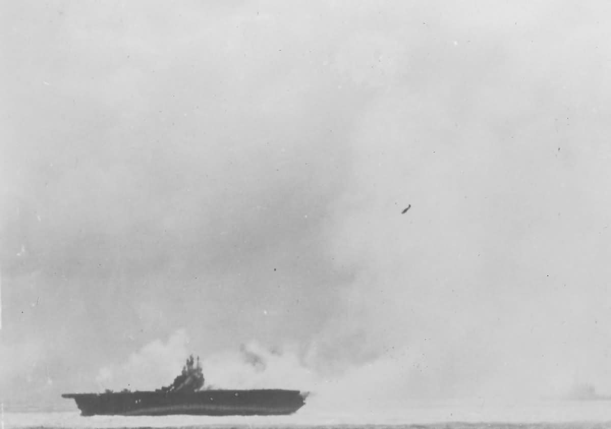Japanese Kamikaze diving on US Navy Aircraft Carrier